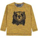 Okergele t-shirt met beer - Skyler golden rod