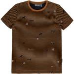 Camelkleurig antraciet gestreepte t-shirt met wilde dieren print - Valker cathay spice